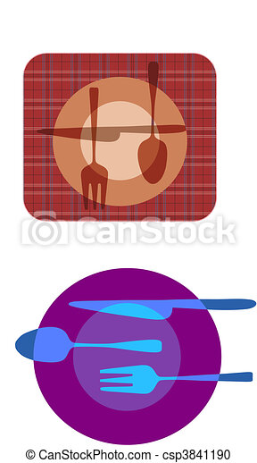 set illustrations of plate with fork, knife ,spoon  - csp3841190