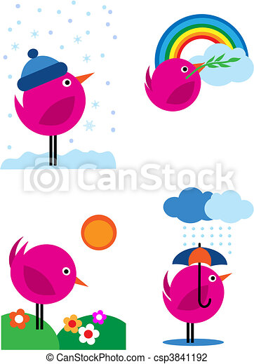 Four seasons pink birds icons - 3 - csp3841192