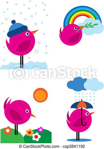 Four seasons pink birds icons - 3 - csp3841192