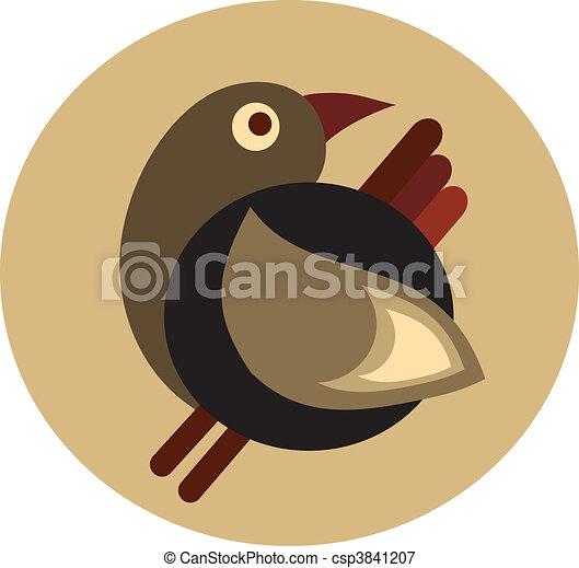 cute decorative retro brown bird - 1 - csp3841207