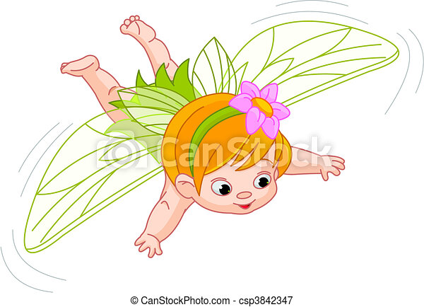 baby fairy in flight - csp3842347