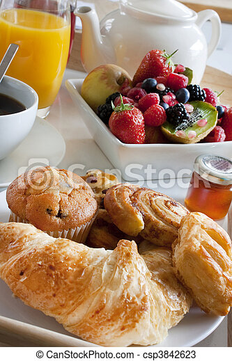 breakfast treat with fruit and pastries - csp3842623