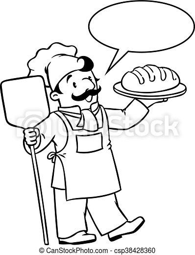 Koch bei der arbeit clipart  Clip Art Vektor von lustiges, färbung, bäcker, buch, koch, oder ...