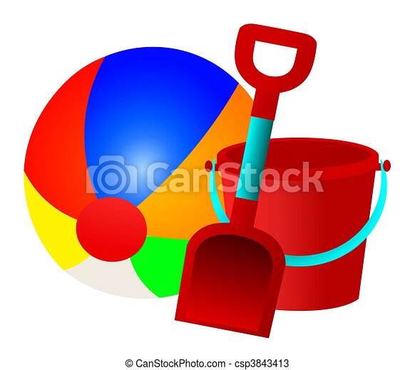 Beach Ball Bucket and Spade - csp3843413