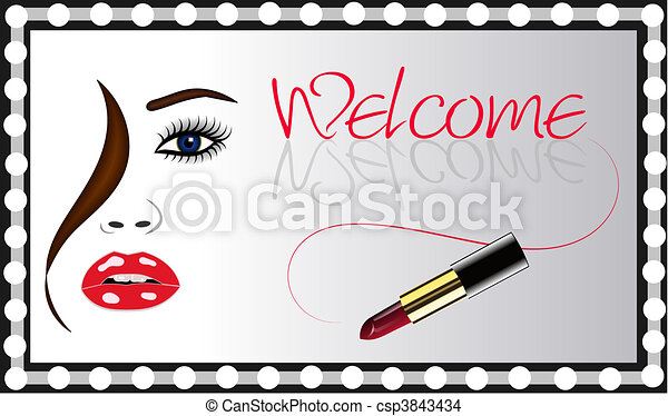 Womans Face Lipstick Mirror Vector - csp3843434