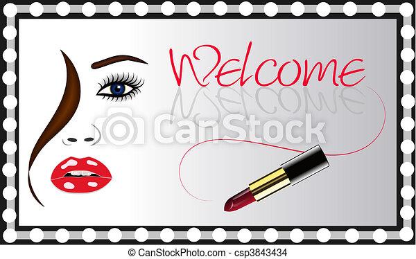 Womans Face Lipstick Mirror Vector - csp3843434