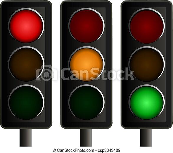 Set of Three Traffic Lights Vector - csp3843489