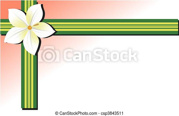 Green Leaf Border Line White Flower Ribbon Border