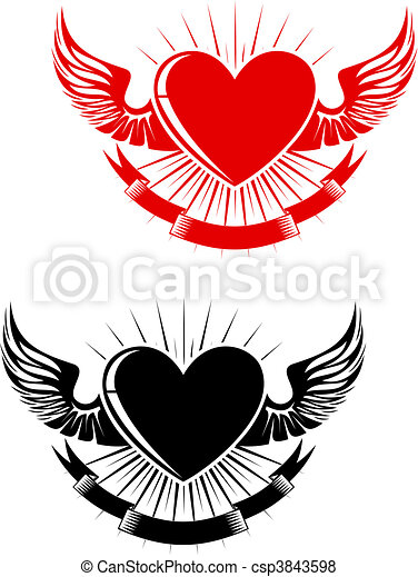 Retro heart tattoo - csp3843598