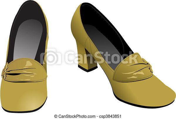Old fashion woman shoes. Vector il - csp3843851