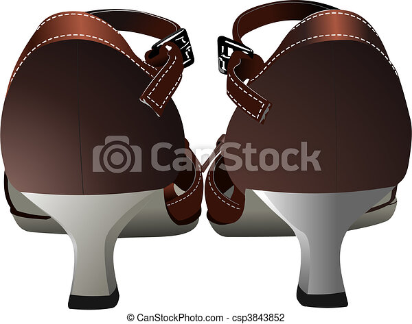 Old fashion woman shoes. Vector il - csp3843852