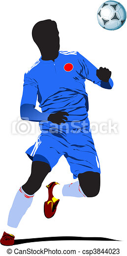 Poster Soccer football player. Col - csp3844023