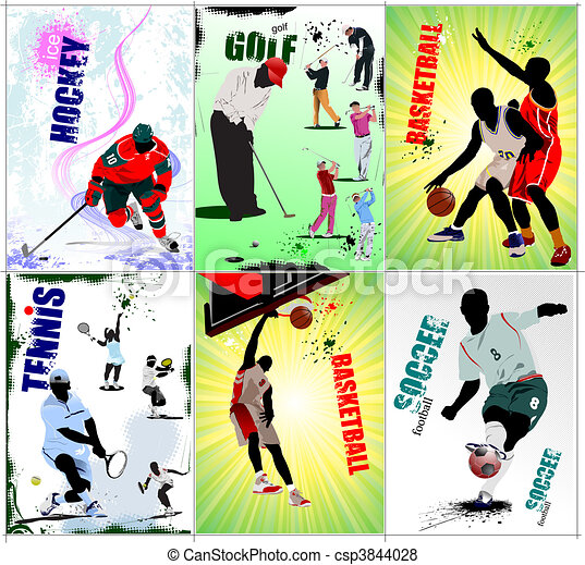 Six sport posters. Football, Ice h - csp3844028