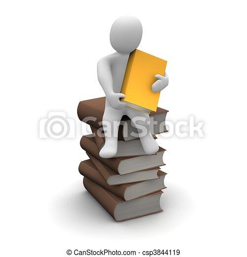 Avid reader sitting on stack of brown hardcover books. 3d rendered illustration. - csp3844119