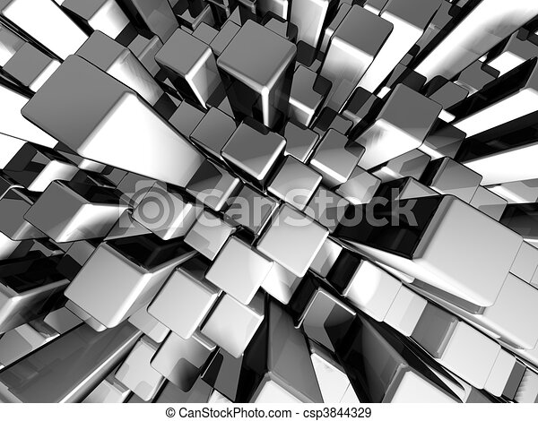 Abstract dynamic metal block background - csp3844329