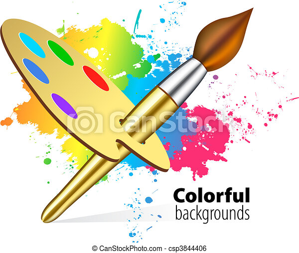 Vector brush on color background - csp3844406