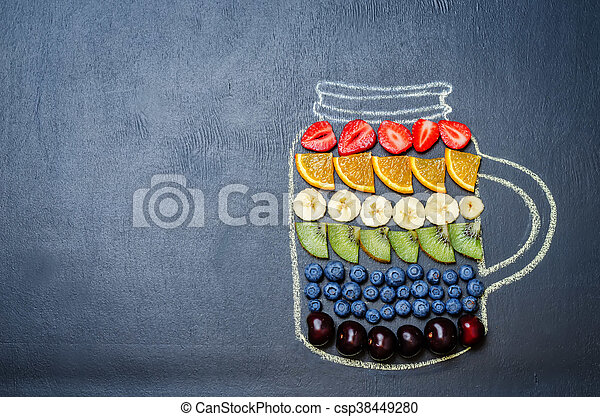 drawn with chalk jar with rainbow fruit and berries. toning. selective focus