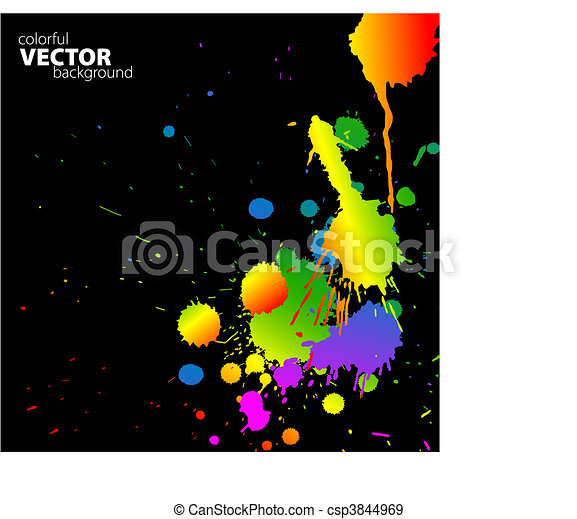 Vector rainbow background with splats - csp3844969