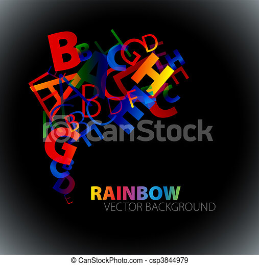 Abstract background with colorful rainbow letters - csp3844979