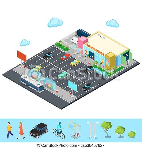 Supermarkt gebäude clipart  Vektor Illustration von gebäude, bereich, isometrisch, city., bus ...