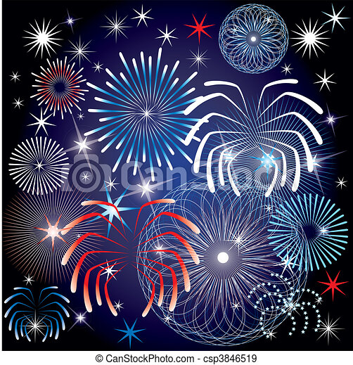 July 4th Fireworks - csp3846519