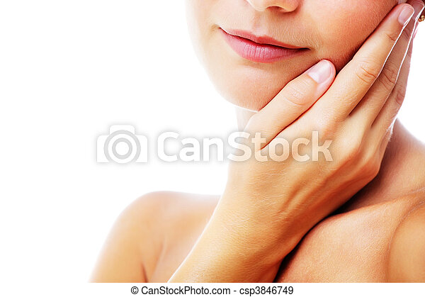 Beautiful woman's face and shoulder - csp3846749