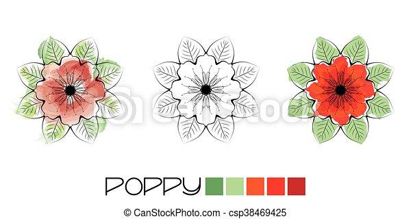 Poppy colouring - csp38469425