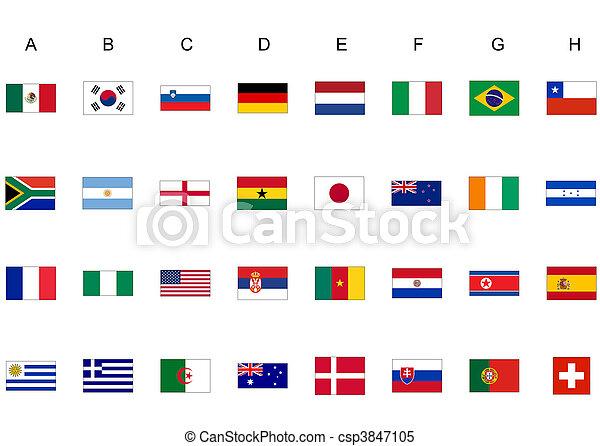 Welt, Flaggen, Becher - csp3847105
