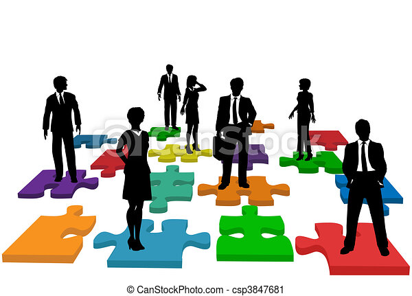 Business people human resources team puzzle - csp3847681