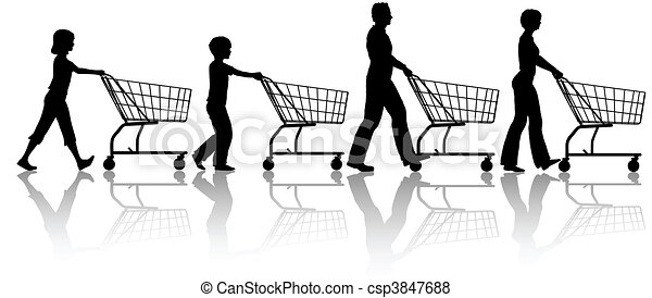 Family mom dad kids together push shopping carts - csp3847688
