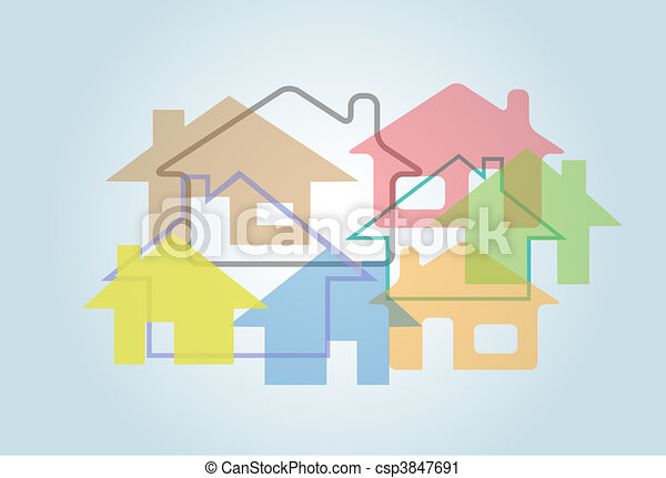 Home Abstract House Shapes Houses Background - csp3847691