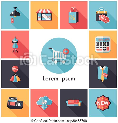 Shopping and online shop icons set - csp38485798