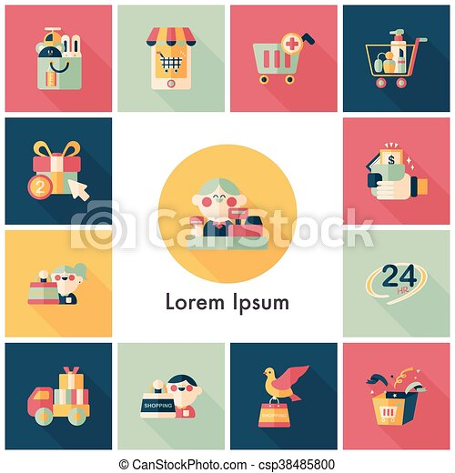 Shopping and online shop icons set - csp38485800
