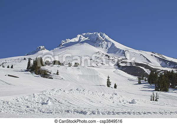 Mount Hood Ski Slope 3 - csp3849516