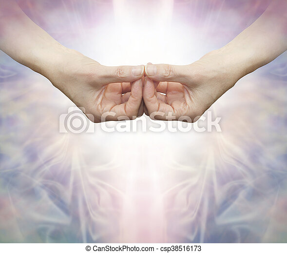 female hands with thumbs and fingers touching to create the Samahita hand position of the Amida Buddha on a beautiful energy formation background