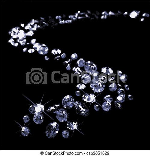 Diamonds on black surface (vector) - csp3851629