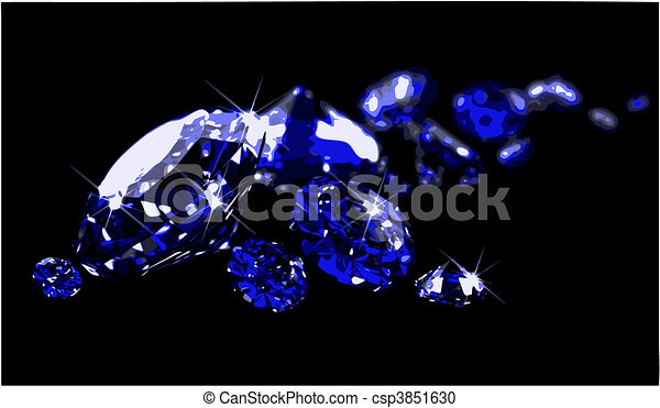 Sapphires on black surface (vector) - csp3851630