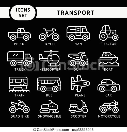 Set line icons of transport - csp38518945