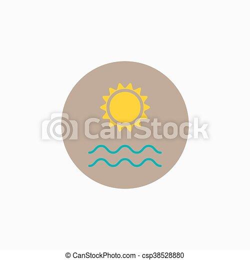 Vector de sol vector mar icono  Vector sol y mar ondas