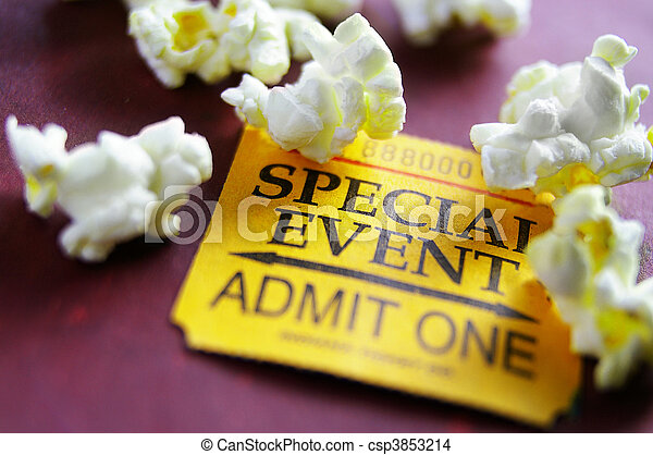 Ticket stub for Special Event with popcorn - csp3853214