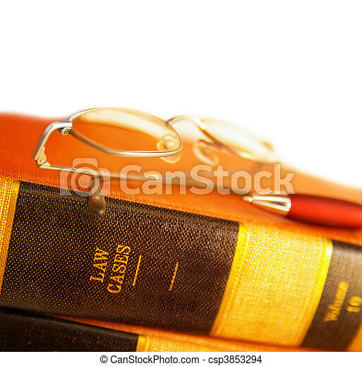 law books with reading glasses and pen, on white - csp3853294