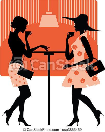 Ladies at cafe - csp3853459