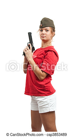 girl with a pistol and garrison cap - csp3853489