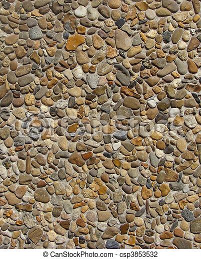 Photo de cailloux brun pierre gris mur b ton orange blanc csp3853532 recherchez - Mur en cailloux ...