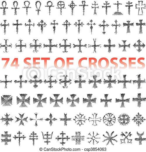 Set of Crosses pencil scribble - csp3854063