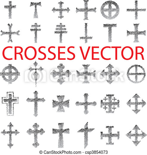 Set of Crosses pencil scribble - csp3854073