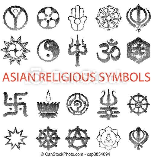 Set of Asian symbol pencil scribble - csp3854094