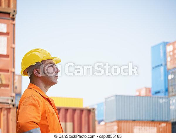 industrial worker in warehouse - csp3855165