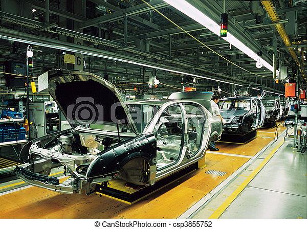 voiture, ligne,  production - csp3855752