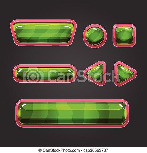 Set green button in cartoon style - csp38563737